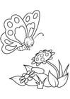 Dibujo para colorear mariposa con flores