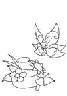 Dibujo para colorear mariposa en la naturaleza