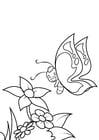 Dibujo para colorear mariposa está sonriendo