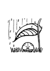 Dibujo para colorear Mariquita protegiéndose de la lluvia
