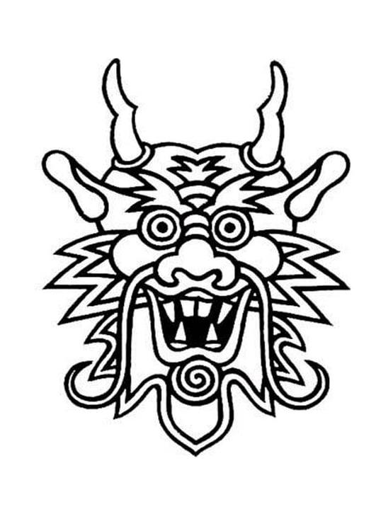 Dibujo Para Colorear Máscara De Dragón Img 11048