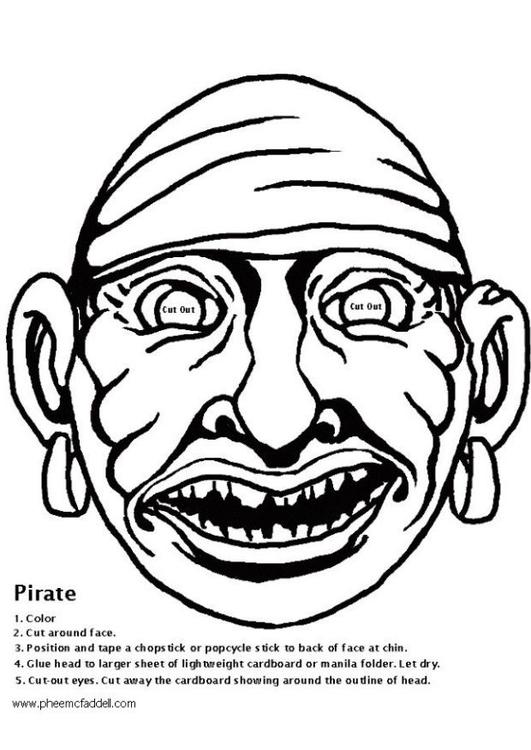 dibujo para colorear máscara de pirata  dibujos para