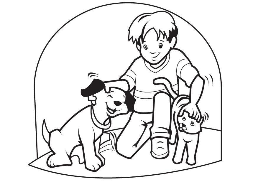 Dibujo para colorear Mascotas perro y gato  Img 7096