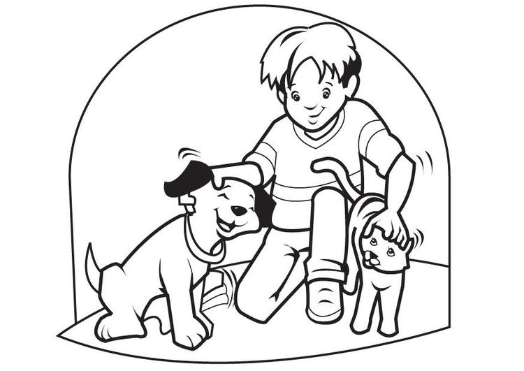Dibujo Para Colorear Mascotas Perro Y Gato Dibujos Para