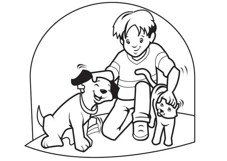 Dibujo para colorear Mascotas perro y gato - Img 7096
