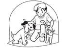 Dibujo para colorear Mascotas perro y gato