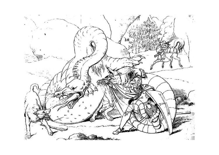 Colorear Dragones Para Dragones Para Colorear: Dibujo Para Colorear Matador De Dragones