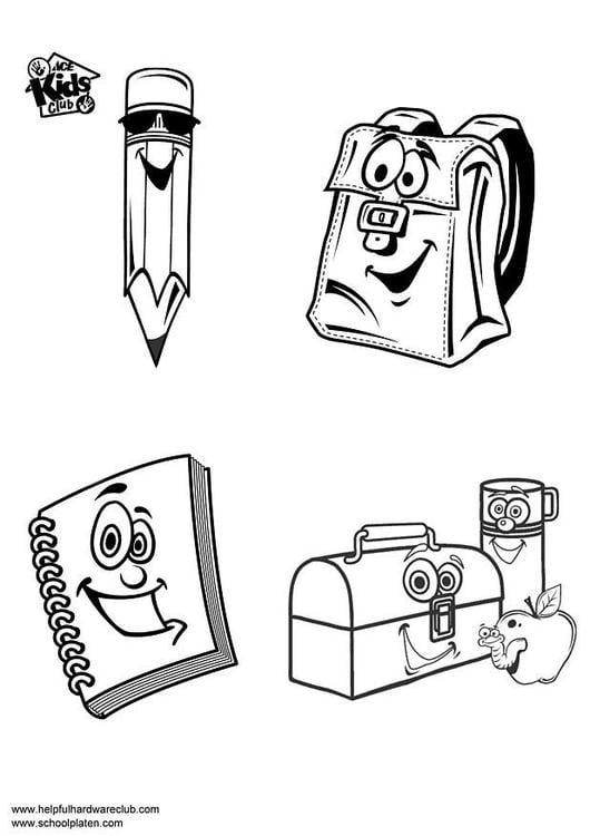 Dibujo Para Colorear Material Escolar