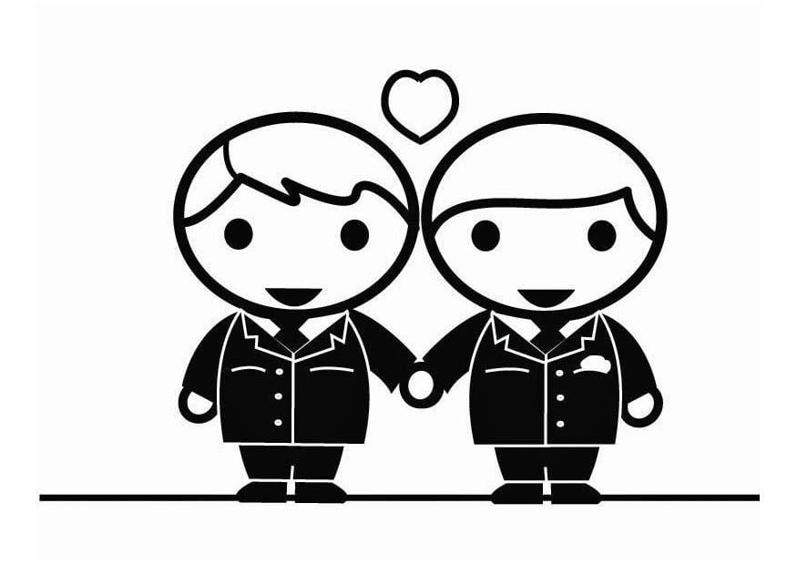 Dibujo para colorear matrimonio homosexual entre hombres  Holebi