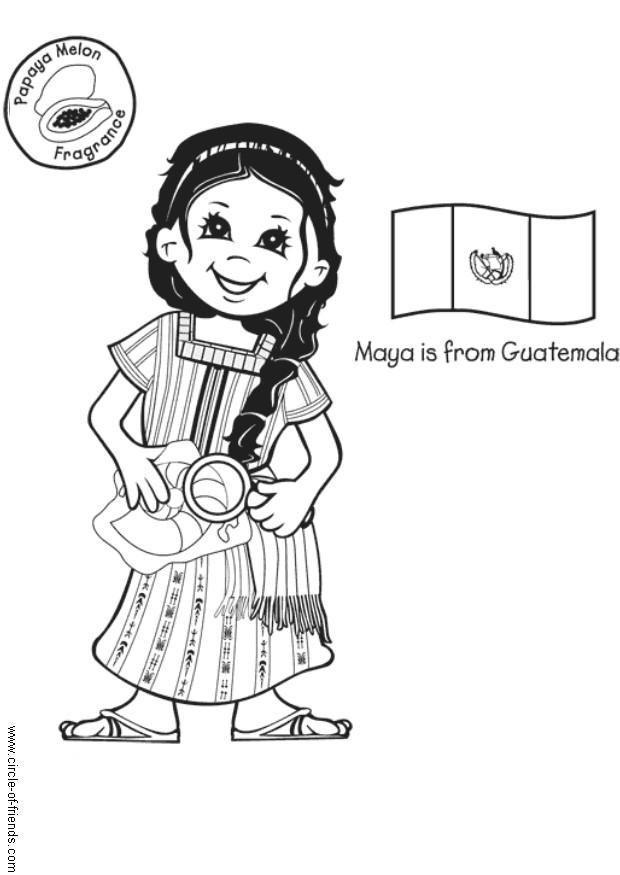Dibujo para colorear Maya de Guatemala con bandera Img 5637