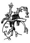 Dibujo para colorear  Maya - Pacal