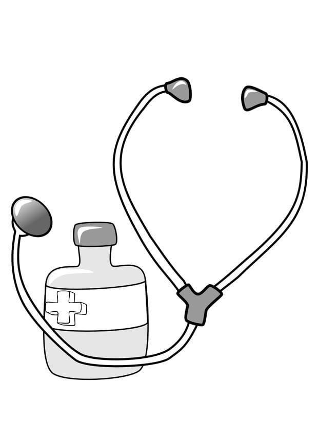 Dibujo para colorear medicina y estetoscopio - Img 22374