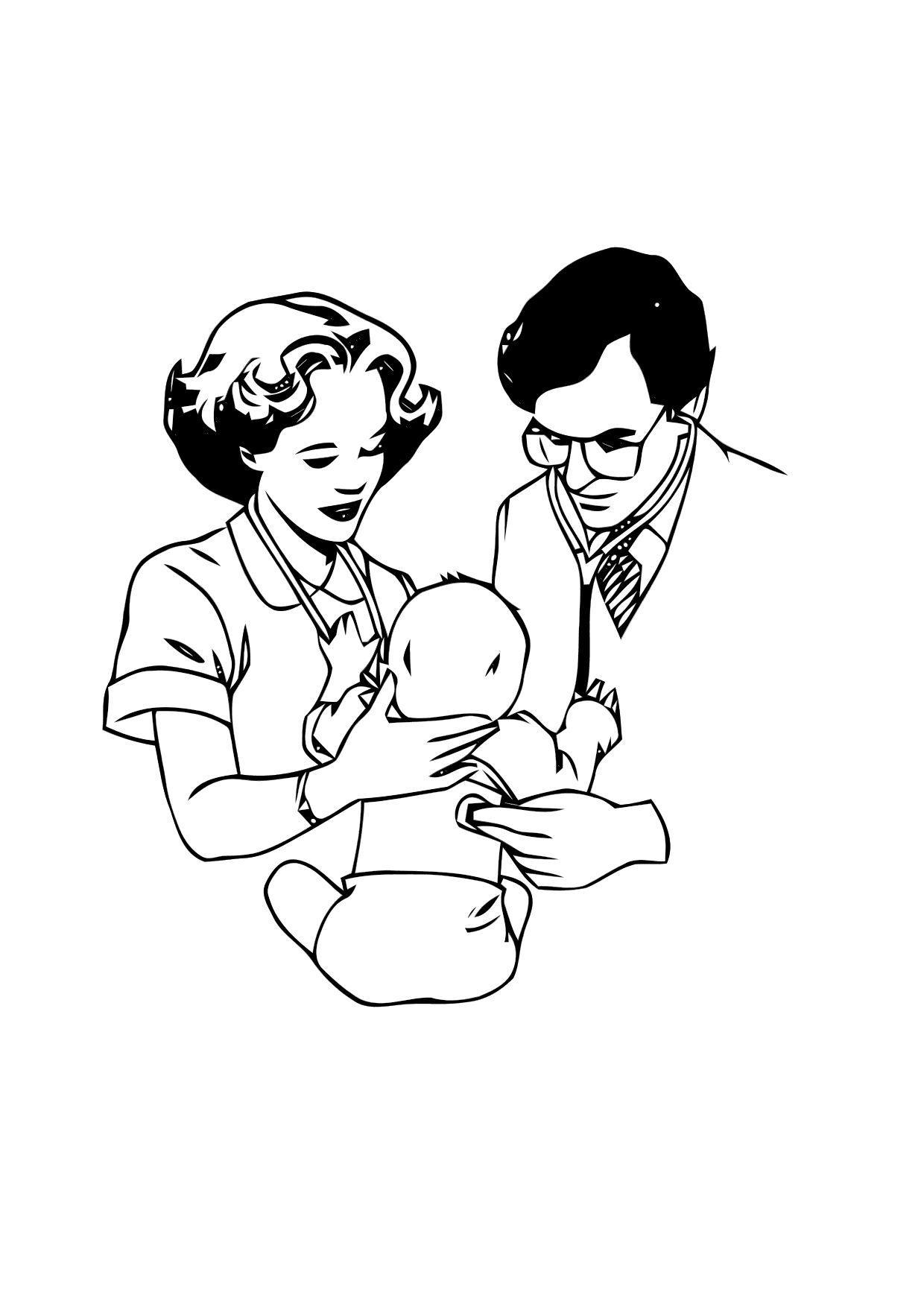 Dibujo para colorear Médico con bebé - Img 12123