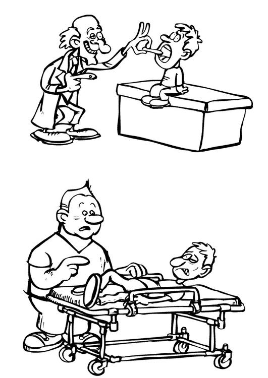 Dibujo para colorear Médico y camillero - Img 12201