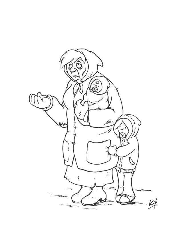 Dibujo para colorear mendiga con niño - Img 26983