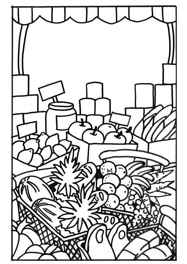 dibujo para colorear mercado