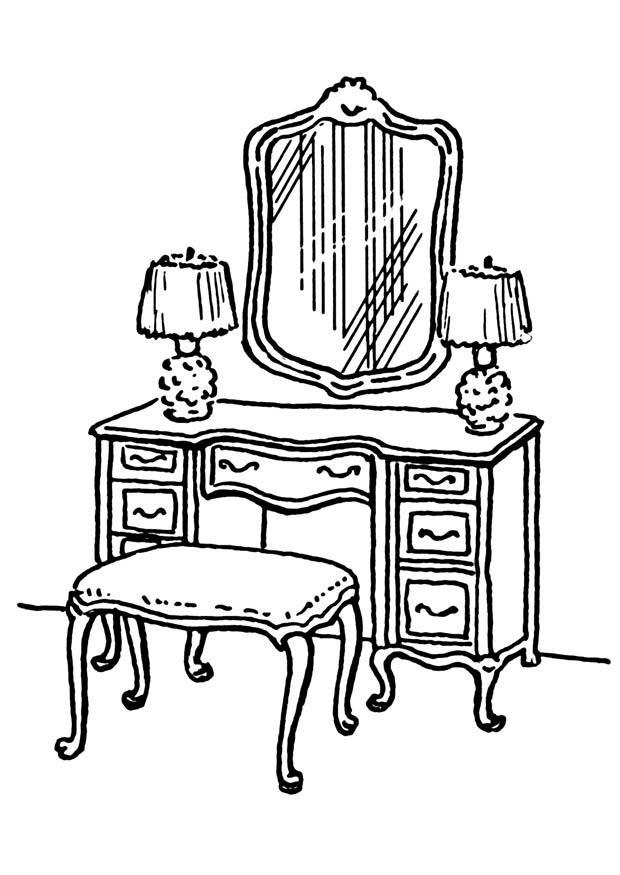 Dibujo para colorear mesa de cuarto de baño - Dibujos Para ...