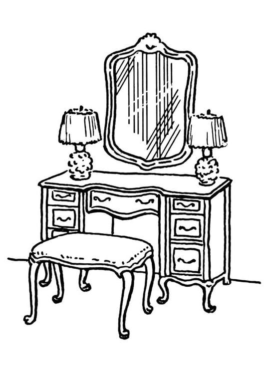 Dibujo para colorear mesa de cuarto de ba o img 18890 for Cuarto para colorear