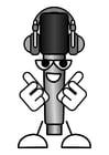 Dibujo para colorear micrófono - escuchar música