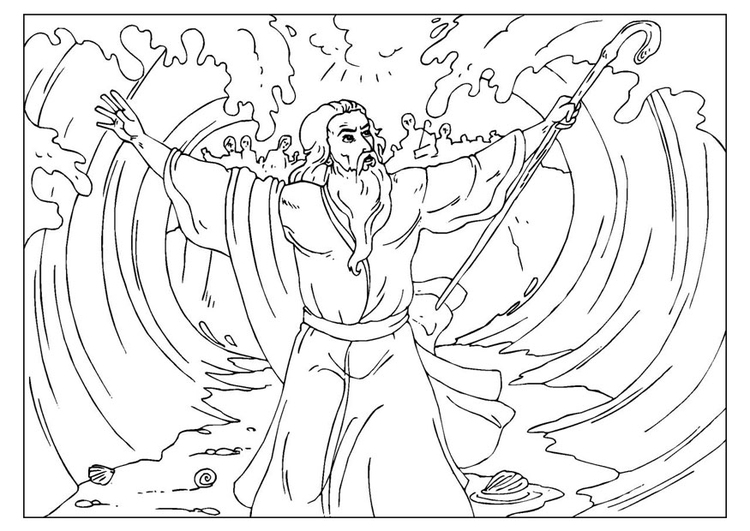 Dibujo para colorear Moisés divide el mar - Img 25959
