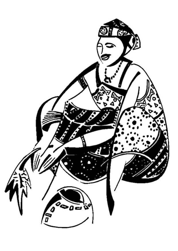 Dibujo para colorear Mujer africana - Img 9346