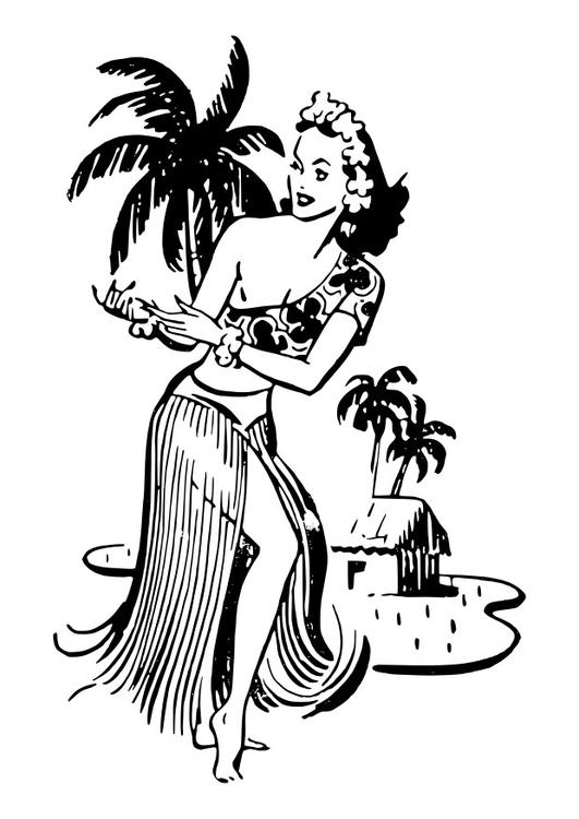 Dibujo para colorear mujer de Hawai - Img 27884