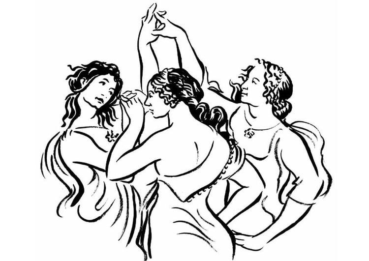 Dibujo para colorear Mujeres bailando - Img 8890