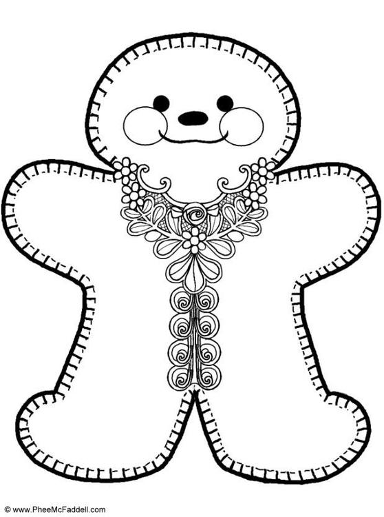 Dibujo para colorear Muñeco de galleta - Img 6911