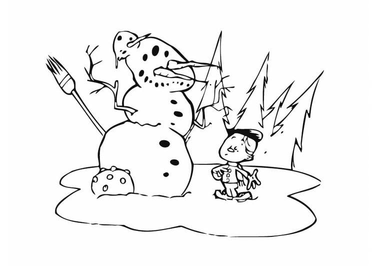 Muñeco De Nieve Dibujo: Dibujo Para Colorear Muñeco De Nieve