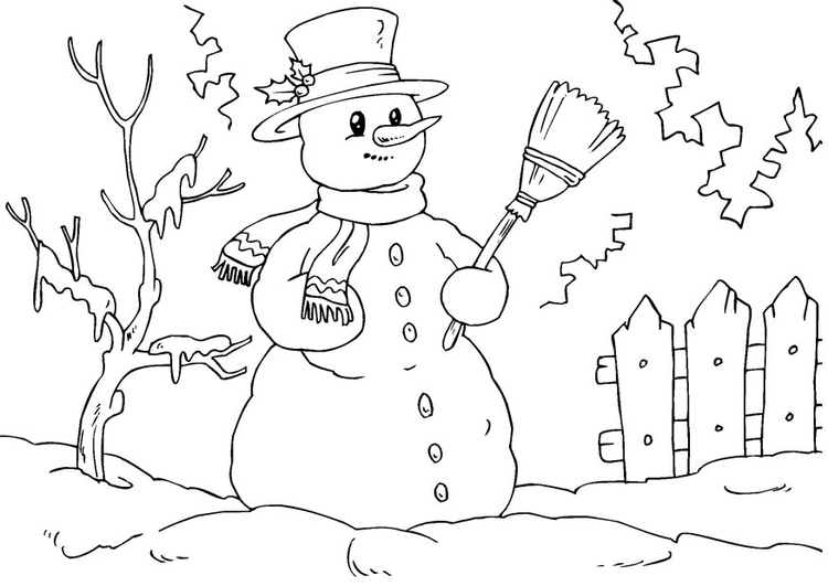 Dibujo Para Colorear Muñeco De Nieve Dibujos Para Imprimir