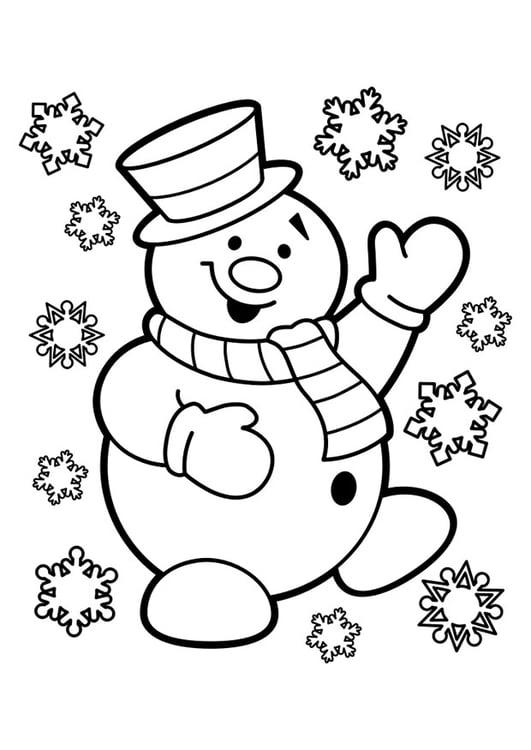 Dibujo para colorear muñeco de nieve   Img 29947
