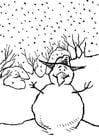 Dibujo para colorear Muñeco de nieve