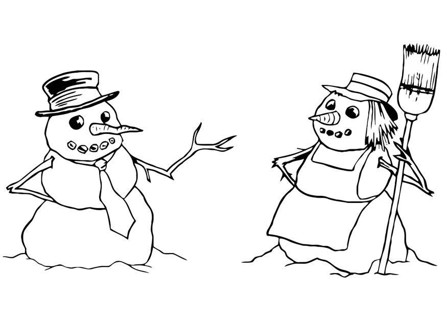 Muñeco De Nieve Dibujo: Dibujo Para Colorear Muñeco De Nieve Y Muñeca De Nieve