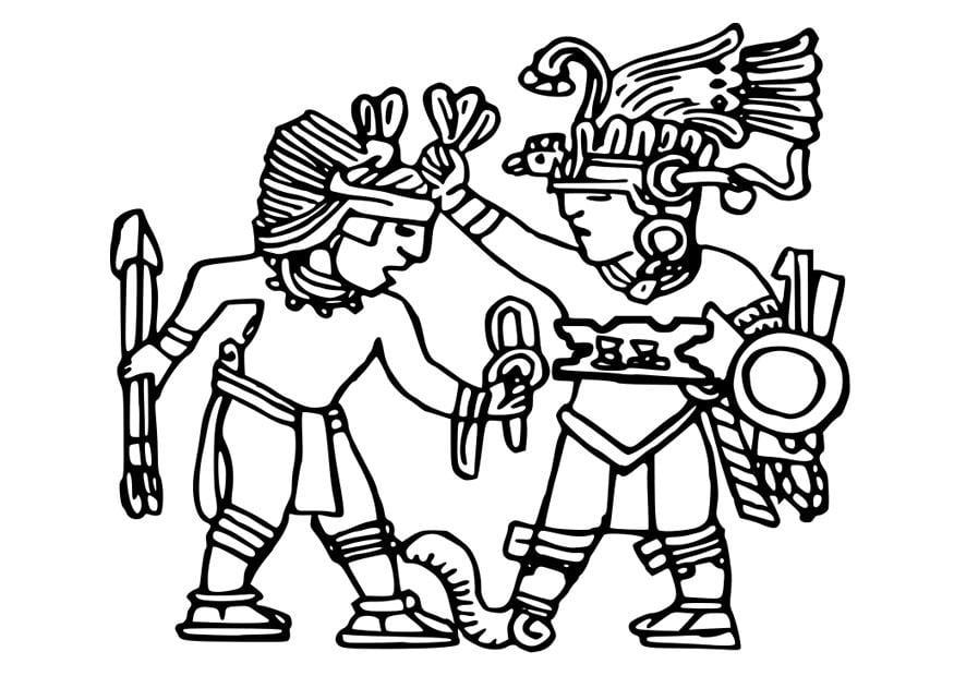 Dibujo para colorear murales aztecas - Img 25572