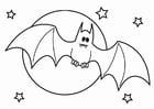 Dibujo para colorear murciélago de Halloween