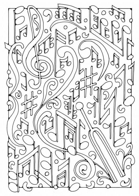 Dibujo para colorear música - Img 19589