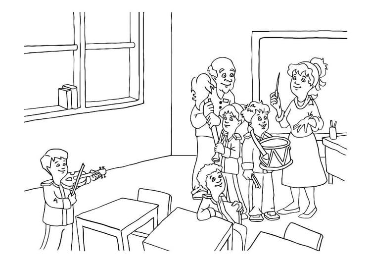 Dibujo para colorear Música en la clase - Img 10758