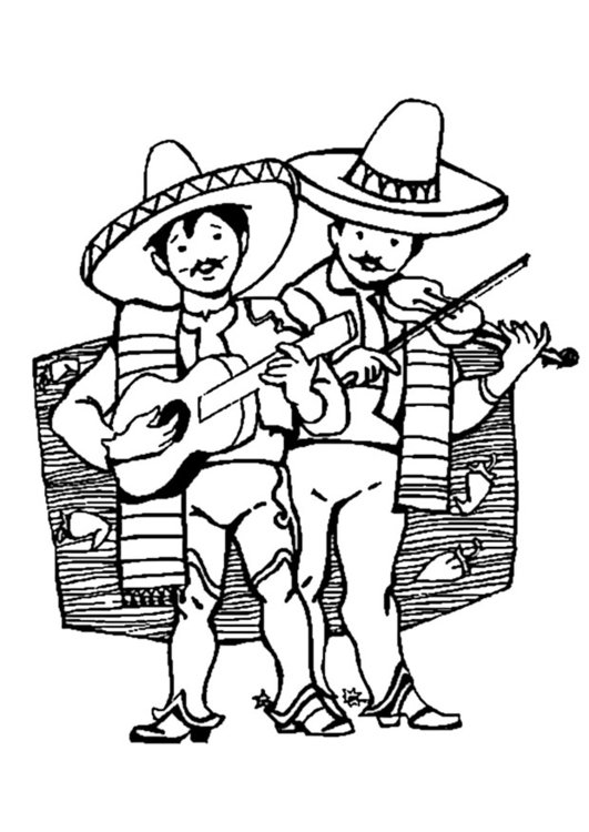 Dibujo Para Colorear Músicos Mexicanos Img 9333