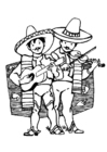 Dibujo para colorear Músicos mexicanos