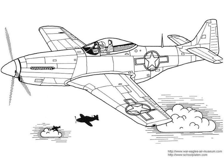 Dibujo para colorear Mustang P-51 - Img 3029