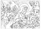 Dibujo para colorear nacimiento de Cristo