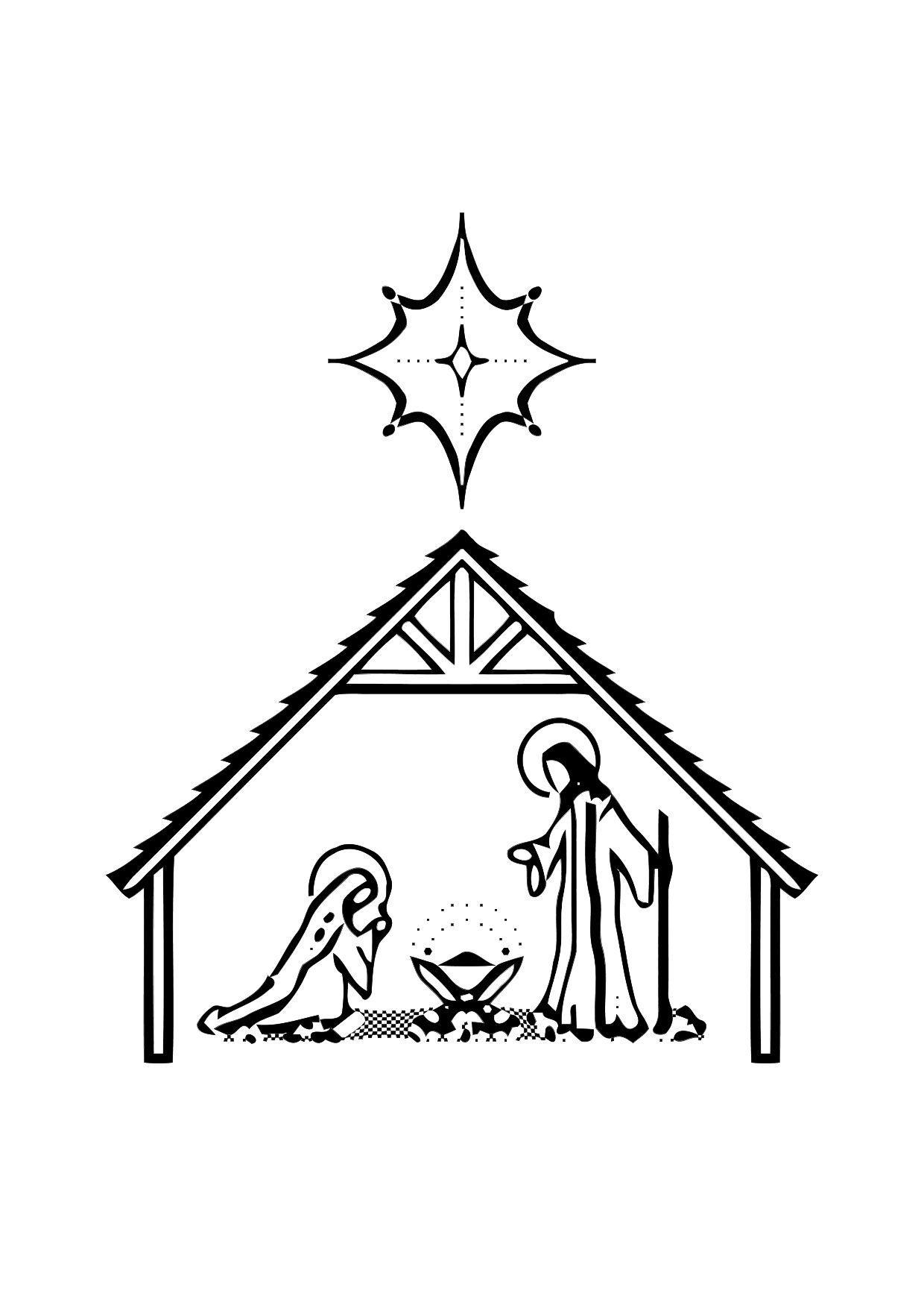 Dibujo para colorear Nacimiento de Jesús - Img 11317