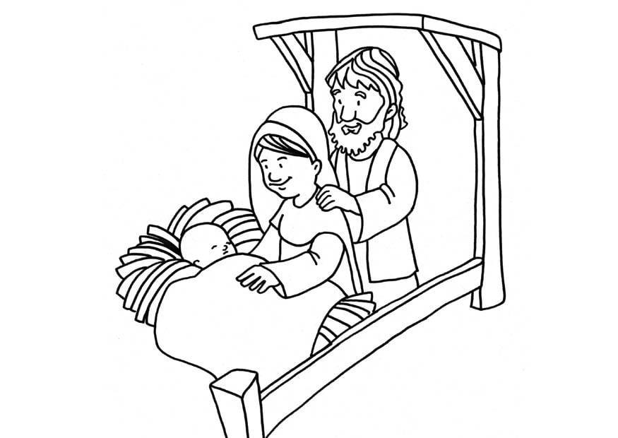 Dibujo para colorear nacimiento de Jesús - Img 18665