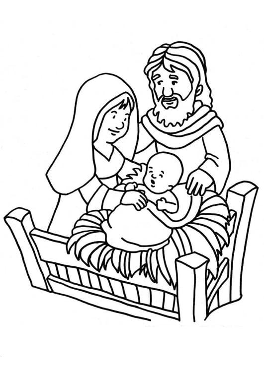Dibujo para colorear nacimiento de Jesús - Img 18661