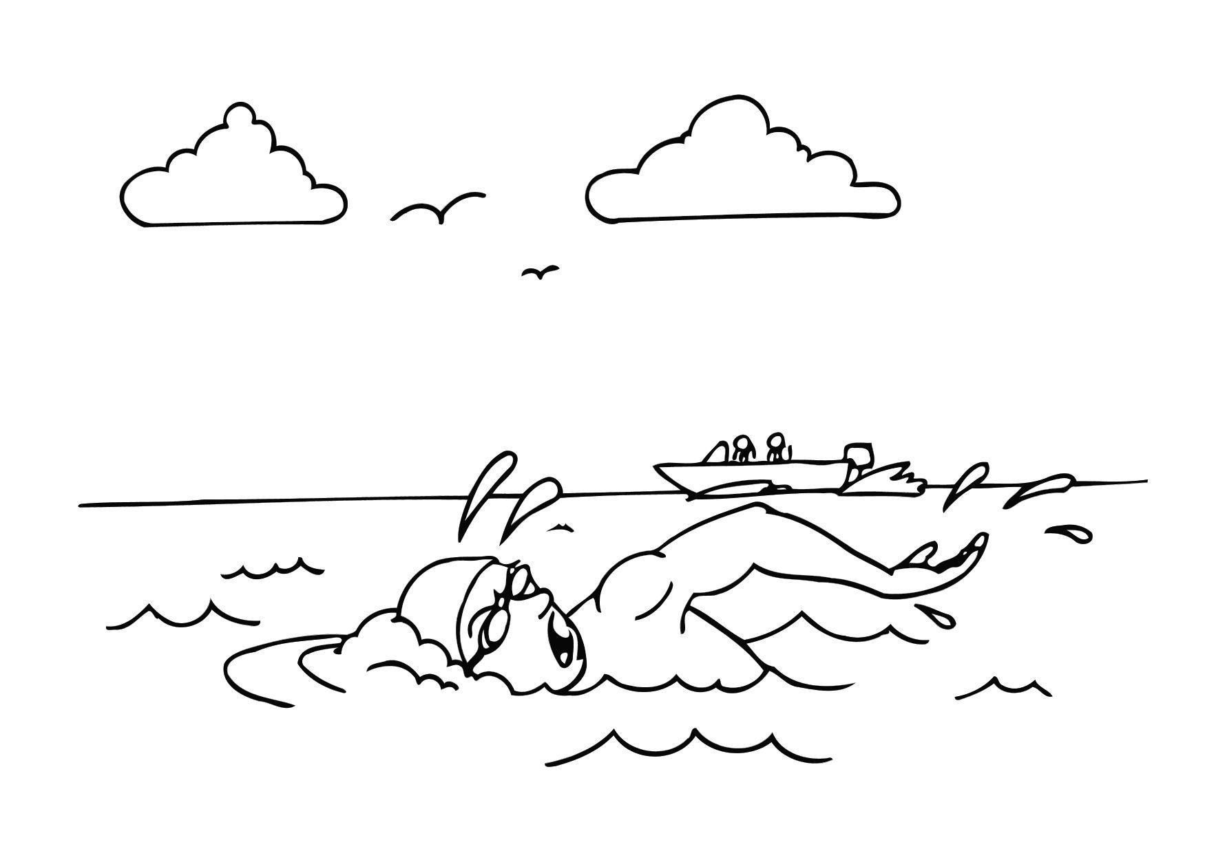 Dibujo para colorear nadar img 12161 for Imagenes de un estanque para colorear