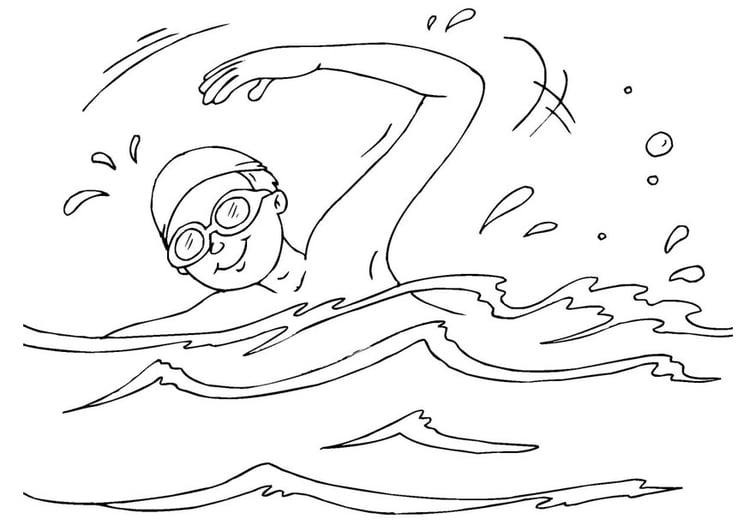 Dibujo para colorear nadar - Img 26070