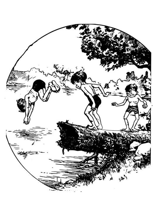 dibujo para colorear nadar en estanque img 27926