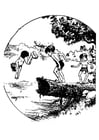 Dibujo para colorear nadar en estanque