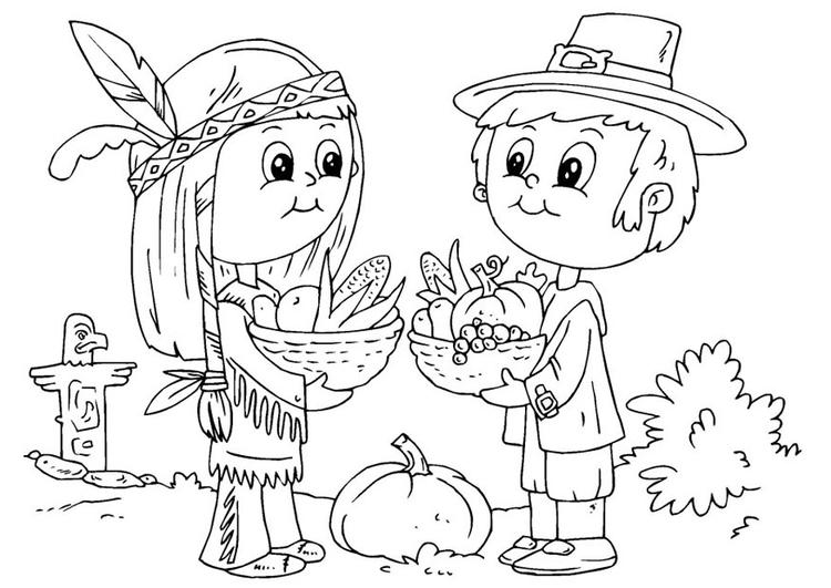Dibujo para colorear nativo americano y peregrino - Img 22910