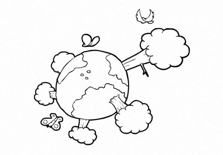 dibujo para colorear naturaleza clima la tierra